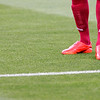 Footballer's legs and feet. Taken before the local derby between Real Betis and Sevilla FC which took place at Ruiz de Lopera stadium, Seville, Spain, on 11 May 2008.