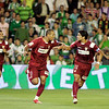 Daniel Alves, Luis Fabiano and Renato celebrating a goal. Local derby between Real Betis and Sevilla FC, Ruiz de Lopera stadium, Seville, Spain, 11 May 2008.