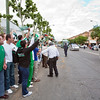 Real Betis fans acclaiming their players as they arrrive to the stadium. Taken before the local derby between Real Betis and Sevilla FC which took place at Ruiz de Lopera stadium, Seville, Spain, on 11 May 2008.