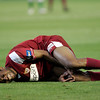 Seydou Keita (Sevilla) on the ground after a foul. Local derby between Real Betis and Sevilla FC, Ruiz de Lopera stadium, Seville, Spain, 11 May 2008.
