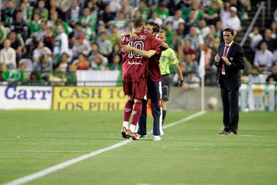 Luis Fabiano hugging a Sevilla FC staff member after scoring a goal. Local derby between Real Betis and Sevilla FC, Ruiz de Lopera stadium, Seville, Spain, 11 May 2008.