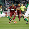 Arzu (Betis) and Kanoute (Sevilla) struggling for the ball. Local derby between Real Betis and Sevilla FC, Ruiz de Lopera stadium, Seville, Spain, 11 May 2008.