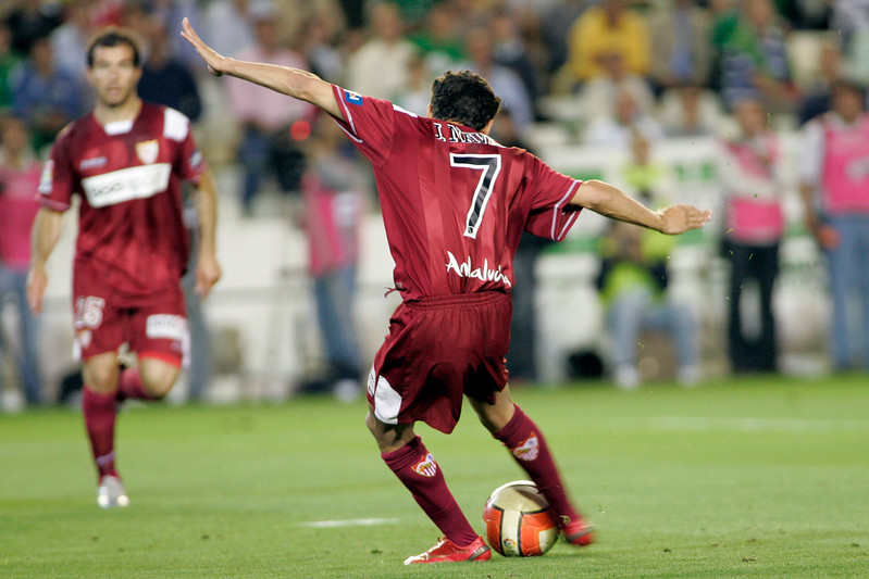 Jesus Navas (Sevilla) kicking the ball. Local derby between Real Betis and Sevilla FC, Ruiz de Lopera stadium, Seville, Spain, 11 May 2008.