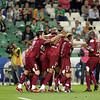 Sevilla FC players celebrating a goal. Local derby between Real Betis and Sevilla FC, Ruiz de Lopera stadium, Seville, Spain, 11 May 2008.