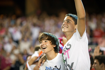 Young Sevilla FC fans celebrating a goal. Spanish League game between Sevilla FC and Real Madrid, Sanchez Pizjuan Stadium, Seville, Spain, 4 October 2009