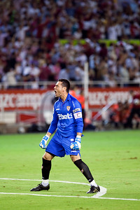 Sevilla FC goalkeeper, Andres Palop, celebrates a goal. Spanish League game between Sevilla FC and Real Madrid, Sanchez Pizjuan Stadium, Seville, Spain, 4 October 2009