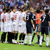 Sevilla FC players forming a wall against a free kick. Spanish League game between Sevilla FC and Real Madrid, Sanchez Pizjuan Stadium, Seville, Spain, 4 October 2009
