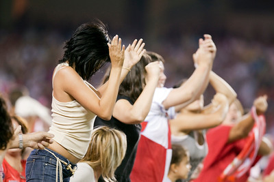 Young Sevilla FC fans celebrate a goal. Spanish League game between Sevilla FC and Real Madrid, Sanchez Pizjuan Stadium, Seville, Spain, 4 October 2009