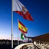 Sevilla FC and Spain flags, Sanchez Pizjuan stadium, Seville, Spain