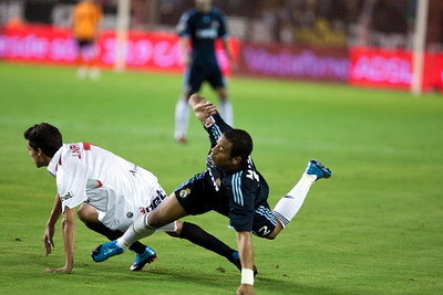 Navas commits foul on Marcelo. Spanish League game between Sevilla FC and Real Madrid, Sanchez Pizjuan Stadium, Seville, Spain, 4 October 2009