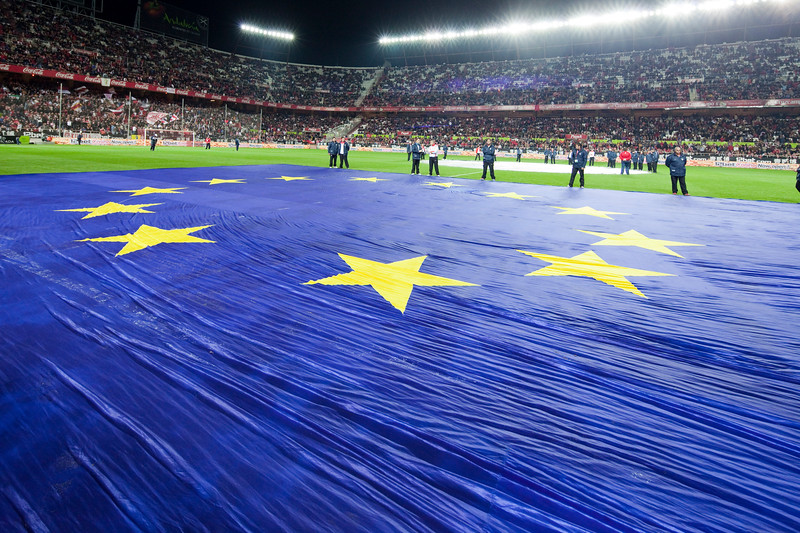 Big European flag on the field before the Spanish Liga game between Sevilla FC and Valencia CF. Sanchez Pizjuan stadium, Seville, Spain, 31 January 2010