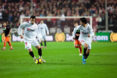 Negredo with the ball and Perotti run to the opponent goal. Spanish Liga game between Sevilla FC and Valencia CF. Sanchez Pizjuan stadium, Seville, Spain, 31 January 2010