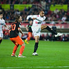 Kanoute shooting. Spanish Liga game between Sevilla FC and Valencia CF. Sanchez Pizjuan stadium, Seville, Spain, 31 January 2010