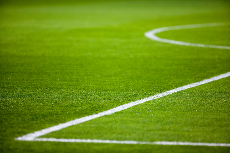 Lines of the penalty area of a football pitch, Seville, Spain