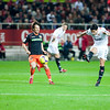 Renato shooting onto goal. Spanish Liga game between Sevilla FC and Valencia CF. Sanchez Pizjuan stadium, Seville, Spain, 31 January 2010