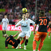 Negredo tries to control the ball between Alexis and Marchena. Spanish Liga game between Sevilla FC and Valencia CF. Sanchez Pizjuan stadium, Seville, Spain, 31 January 2010