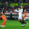 Kanoute controlling the ball with his chest. Spanish Liga game between Sevilla FC and Valencia CF. Sanchez Pizjuan stadium, Seville, Spain, 31 January 2010