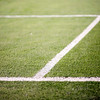Goal are lines on a football field, Seville, Spain