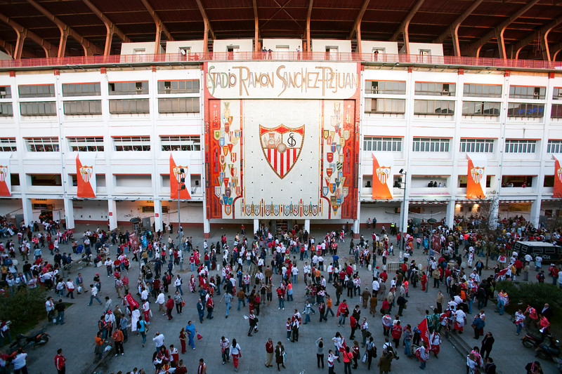 People arriving to Sanchez Pizjuan stadium before a game, Seville, Spain