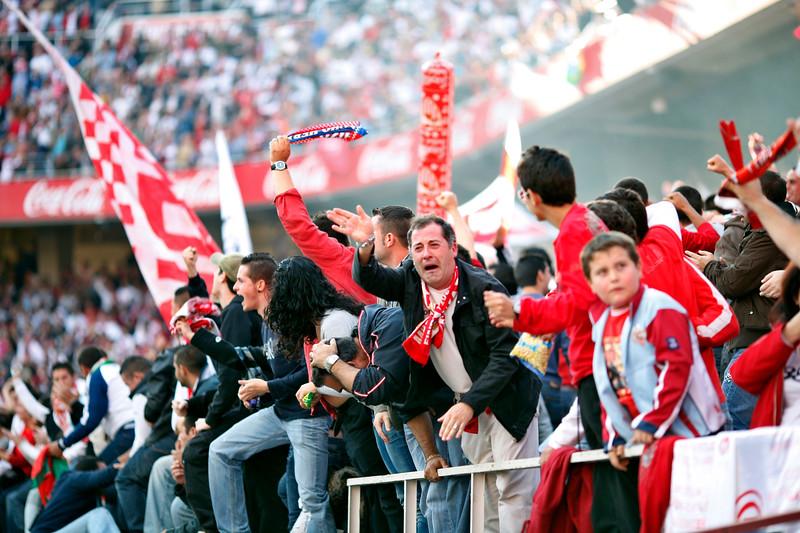 Sevilla FC radical fans, AKA as Biris, celebrating a goal. Spanish Liga football game between Sevilla FC and Real Madrid CF that took place at Sanchez Pizjuan stadium, Seville, Spain, on 26 April 2009