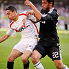 Jesus Navas (Sevilla, left) and Miguel Torres (R. Madrid, right). Spanish Liga football game between Sevilla FC and Real Madrid CF that took place at Sanchez Pizjuan stadium, Seville, Spain, on 26 April 2009