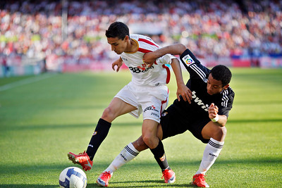 Jesus Navas (Sevilla, left) and Marcelo (Real Madrid, right). Spanish Liga football game between Sevilla FC and Real Madrid CF that took place at Sanchez Pizjuan stadium, Seville, Spain, on 26 April 2009