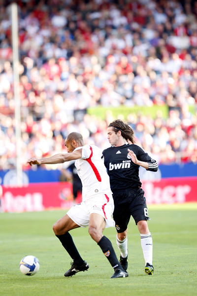Kanoute (Sevilla) and Gago (Real Madrid). Spanish Liga football game between Sevilla FC and Real Madrid CF that took place at Sanchez Pizjuan stadium, Seville, Spain, on 26 April 2009