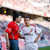 Jesus Navas (Sevilla) arguing with the linesman. Spanish Liga football game between Sevilla FC and Real Madrid CF that took place at Sanchez Pizjuan stadium, Seville, Spain, on 26 April 2009
