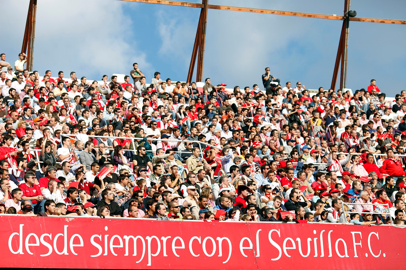Crowded stands of Sanchez Pizjuan stadium during the Spanish Liga football game between Sevilla FC and Real Madrid CF that took place in Seville, Spain, on 26 April 2009