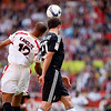 Sevilla's Kanoute and Real Madrid's Metzelder fighting for an aerial ball. Spanish Liga football game between Sevilla FC and Real Madrid CF that took place at Sanchez Pizjuan stadium, Seville, Spain, on 26 April 2009