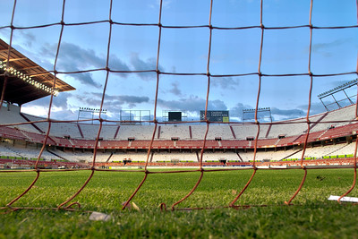 View of Sanchez Pizjuan stadium, belonging to Sevilla FC, from behind the net. Seville, Spain, 26 April 2009