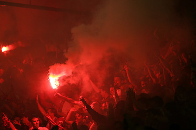 Sevilla FC fans celebrating the goal