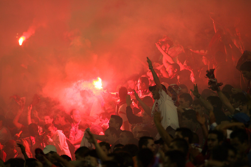 Sevilla FC fans celebrating the goal