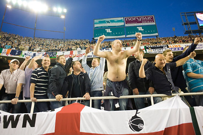 Tottenham fans celebrating a goal