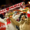 Sevilla FC fans showing scarves. Taken in the Sanchez Pizjuan stadium on 4 Feb 2009 during the King's Cup semifinal game between the football teams Sevilla FC and Athletic Club of Bilbao, town of Seville, autonomous community of Andalusia, southern Spain