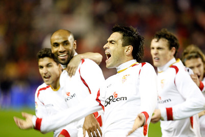 Navas, Kanoute, Duscher, Squilachi and Capel (left to right) celebrating a Sevilla FC goal. Taken in the Sanchez Pizjuan stadium on 4 Feb 2009 during the King's Cup semifinal game between the football teams Sevilla FC and Athletic Club of Bilbao, town of Seville, autonomous community of Andalusia, southern Spain