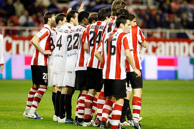 Barrier for a free kick. Taken in the Sanchez Pizjuan stadium on 4 Feb 2009 during the King's Cup semifinal game between the football teams Sevilla FC and Athletic Club of Bilbao, town of Seville, autonomous community of Andalusia, southern Spain