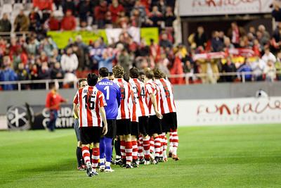 Initial greetings. Taken in the Sanchez Pizjuan stadium on 4 Feb 2009 during the King's Cup semifinal game between the football teams Sevilla FC and Athletic Club of Bilbao, town of Seville, autonomous community of Andalusia, southern Spain