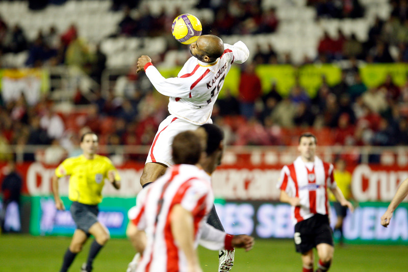 Kanoute jumping. taken in the Sanchez Pizjuan stadium on 4 Feb 2009 during the King's Cup semifinal game between the football teams Sevilla FC and Athletic Club of Bilbao, town of Seville, autonomous community of Andalusia, southern Spain