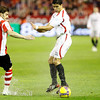 Aitor Ocio (Athletic, left) and Renato (Sevilla, right). Taken in the Sanchez Pizjuan stadium on 4 Feb 2009 during the King's Cup semifinal game between the football teams Sevilla FC and Athletic Club of Bilbao, town of Seville, autonomous community of Andalusia, southern Spain