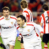 Duscher and Squilachi (behind) celebrating a goal. Taken in the Sanchez Pizjuan stadium on 4 Feb 2009 during the King's Cup semifinal game between the football teams Sevilla FC and Athletic Club of Bilbao, town of Seville, autonomous community of Andalusia, southern Spain