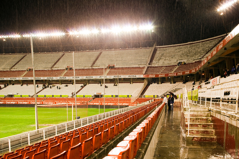 Heavy rain before the game. Taken in the Sanchez Pizjuan stadium on 4 Feb 2009 during the King's Cup semifinal game between the football teams Sevilla FC and Athletic Club of Bilbao, town of Seville, autonomous community of Andalusia, southern Spain