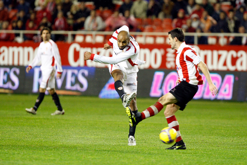 Kanoute shooting onto goal. taken in the Sanchez Pizjuan stadium on 4 Feb 2009 during the King's Cup semifinal game between the football teams Sevilla FC and Athletic Club of Bilbao, town of Seville, autonomous community of Andalusia, southern Spain