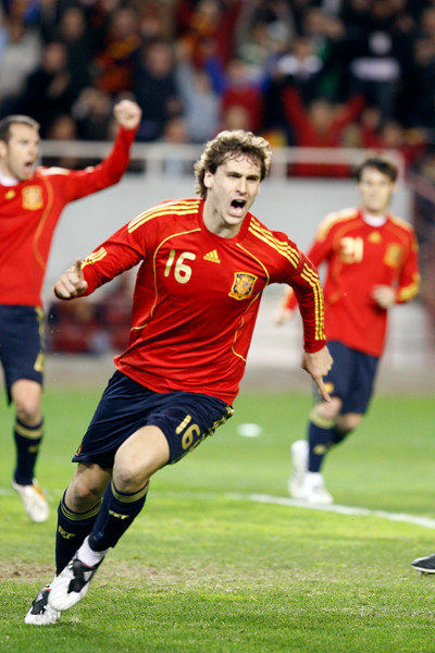 Fernando Llorente celebrating his goal. Taken during the friendly football game between the national teams of Spain and England that took place in the Sanchez Pizjuan stadium, Seville, Spain, 11 Feb 2009.