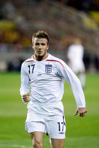 David Beckham. Taken during the friendly football game between the national teams of Spain and England that took place in the Sanchez Pizjuan stadium, Seville, Spain, 11 Feb 2009.