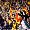 Spanish fans. Taken during the friendly football game between the national teams of Spain and England that took place in the Sanchez Pizjuan stadium, Seville, Spain, 11 Feb 2009.