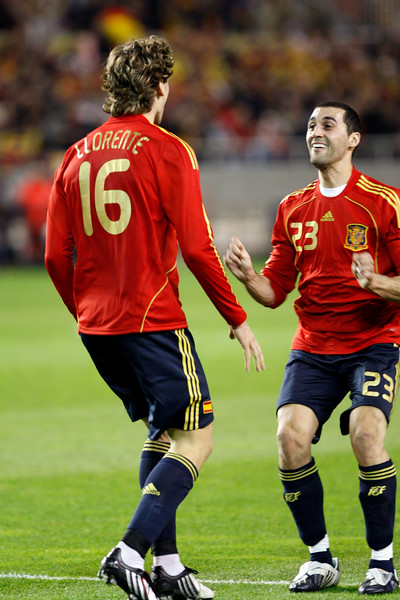 Llorente and Arbeloa celebrating a goal. Taken during the friendly football game between the national teams of Spain and England that took place in the Sanchez Pizjuan stadium, Seville, Spain, 11 Feb 2009.