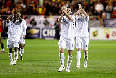 The English players thanking their fans' support. Taken during the friendly football game between the national teams of Spain and England that took place in the Sanchez Pizjuan stadium, Seville, Spain, 11 Feb 2009.
