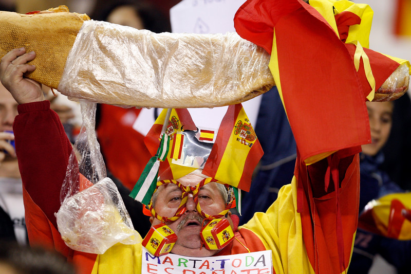 Freaky Spanish fan. Taken during the friendly football game between the national teams of Spain and England that took place in the Sanchez Pizjuan stadium, Seville, Spain, 11 Feb 2009.