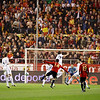 Xabi Alonso (Spain) shooting onto goal. Taken during the friendly football game between the national teams of Spain and England that took place in the Sanchez Pizjuan stadium, Seville, Spain, 11 Feb 2009.